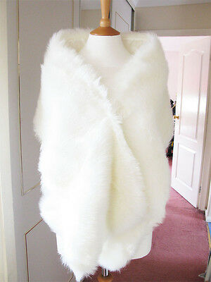 Faux Fur White Ivory Wrap Shrug Bolero Stole Bridal Wedding Shawl UK Size 6-12