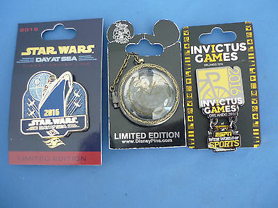 Disney Pin LOT of 3 Pins  LIMITED EDITION Invictus Star Wars  Cruise  New card