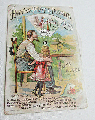 1880s HAYES Pump & Planter Co. Galva Illinois Mechanical Trade Card, Well Pumps
