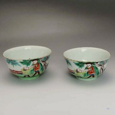 2 Antique 1750-1850 Chinese Handleless Tea Cups /Bowls
