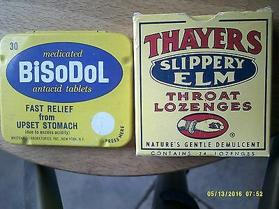 Vintage Bisodol Antacid unopened tin 30 tabs Theyers  Lozenges opened box