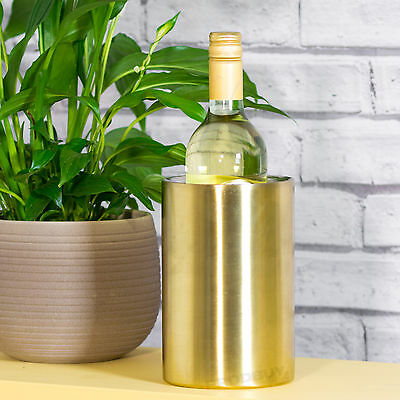 18cm Gold Stainless Steel Double Walled Wall Wine Cooler Bottle Holder Bucket