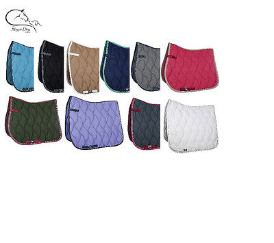 HKM Plain Quilted Dressage Saddlecloth, Pad/Square, All Sizes Styles Colours