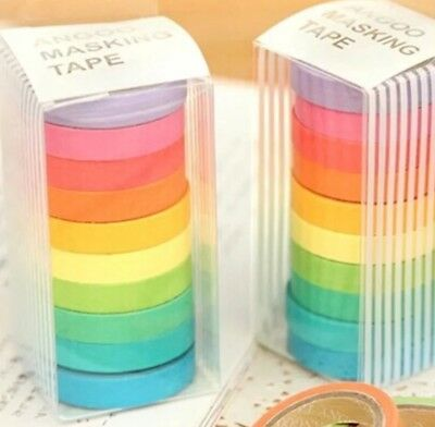 10 Of Assorted Color 7mm X 5Meter Rainbow Washi Sticky Tape DIY Scrapbook Diary