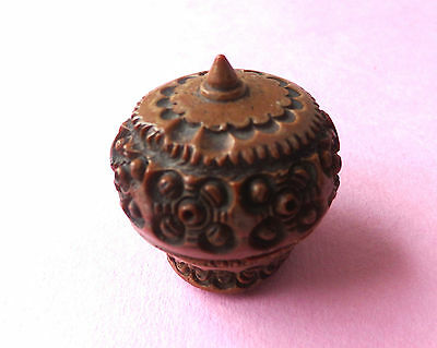 Antique Carved Tagua Nut  Sewing Child Size Brass Thimble Holder