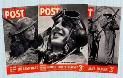 WWII Picture Post Set of 5