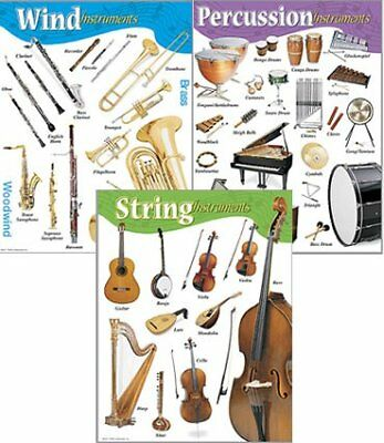 Music Poster Chart Set - String, Percussion and Wind Instruments. Ideal for