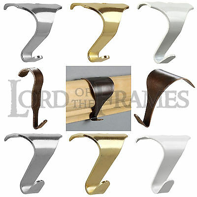 10 x Picture Rail Hooks White Silver Brass Bronze Hanging Mirror Painting Metal