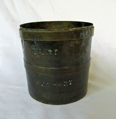 Antique Marine 1 Quart Copper Measure 'S.S. Achary' with Verification Lead Stamp