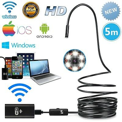 16FT 6LED Wireless Endoscope WiFi Borescope Inspection Smart HD Camera for Phone