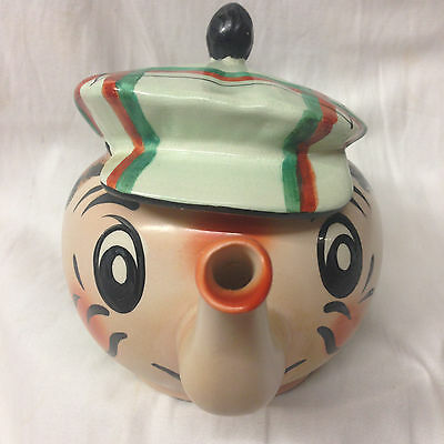 Wade Pottery England Andy Capp Golfer Caddy Teapot & Lid Pale Green Hat Lid