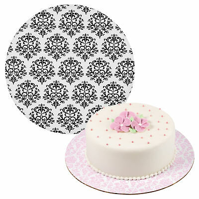 Wilton 3pk 12 Inch Damask Pattern Round Cake Display Stand Boards Party Decor