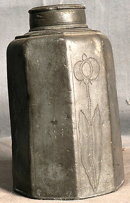 Antique Early Hallmarks Chinese European Pewter Polygonal Tea Canister Caddy OLD