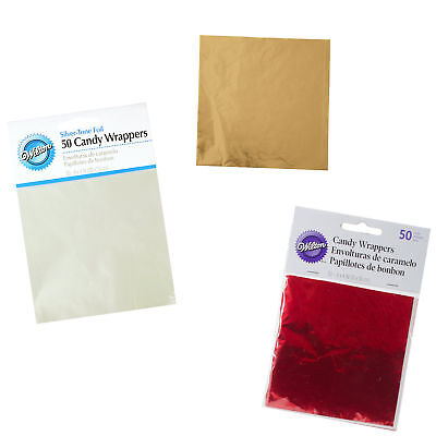 Wilton 50Pk Shiny Foil Candy Wrappers for Covering Lollipop Cake Pops Decorating