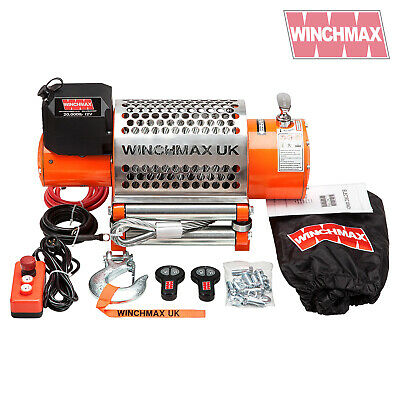 ELECTRIC WINCH 12V RECOVERY 4x4 20000 lb WINCHMAX ORIGINAL ORANGE WINCH REMOTE