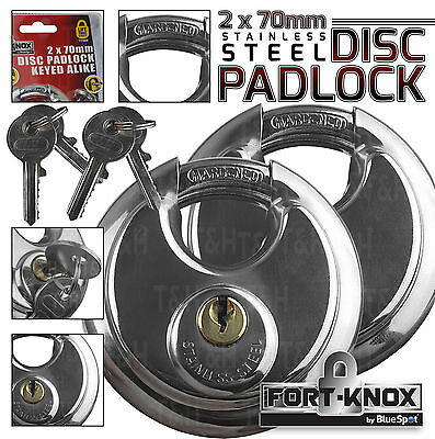2x Keyed Alike Heavy Duty Disc Padlock 70mm Hardened Steel Solid Brass Cylinder
