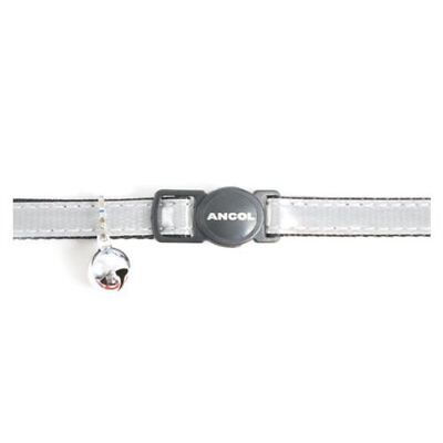 Gloss Reflective Cat Collar with safety buckle Silver