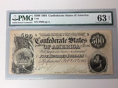1864 $500 Confederate Note T-64 PMG Choice Uncirculated 63