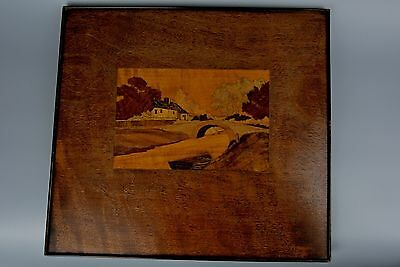 Vintage Lerren River Cornwall Inlaid Wood Marquetry Picture