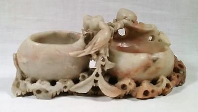 Antique Hand Carved  Soapstone Chinese Oriental Double Ink / Brush Pot