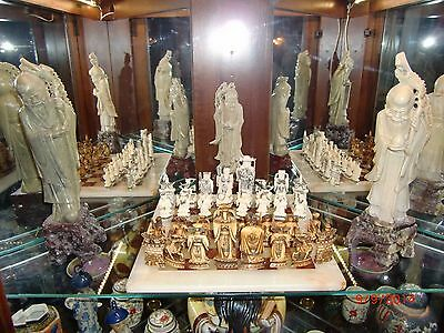 Antique  Chinese Hand Carved  Ivory Chess Set  Quing  Dynasty