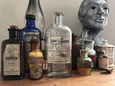Antique Apothecary jars, bottles (Heroin, Morphine, Opium) + 2 Opium Pillows