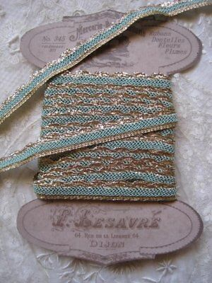 Antique Aqua Green And Gold Metallic Woven Lace, Ribbon Trim   3 Yards