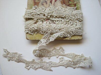 Antique Hand Made Ivory French Cotton Lace,  Trim   1 Yard