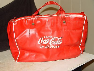Estate Old Vintage Coca Cola  Soda Advertising Vinyl Carry Hand Bag Cooler