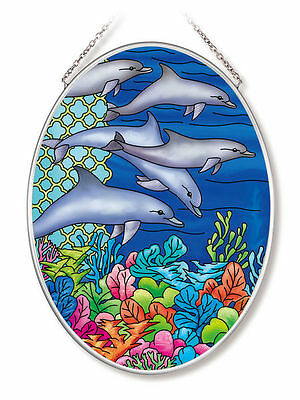 "Ocean Dolphins Sun Catcher AMIA Hand Painted Glass 7"" x 5"" Oval Coral Reef New"