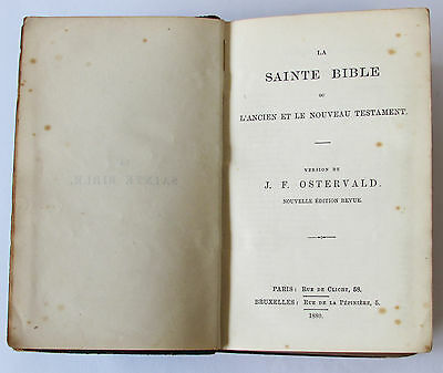 1880 Sainte Bible by J F Ostervald ~ Leather Bound French Antique Old Holy Book