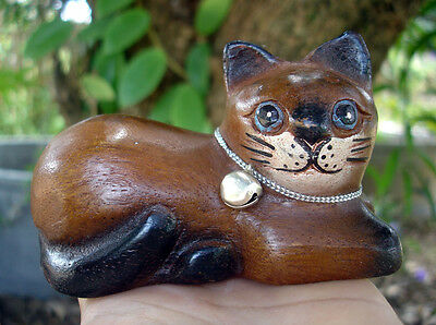 Hand Carved Wooden Cat Figurine Crafted Wood Kitty Kitten watching rest gift kid