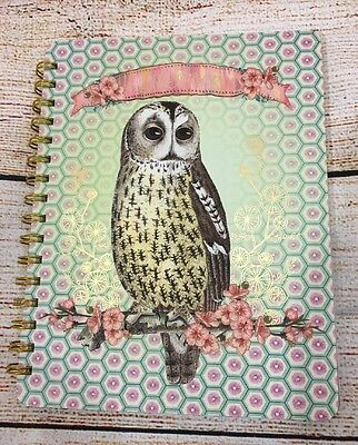 Papaya Dreamer spiral notebook blank book new floral owl illustrated hc lined