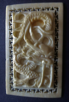 Chinese Antique Bovine Bone Plaque Brooch, Dragon, Late Qing.