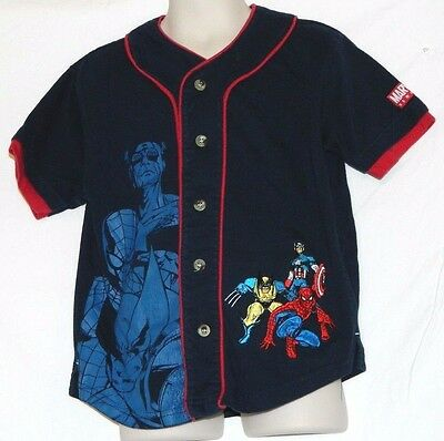 Marvel Heroes Button Front Short Sleeve Blue T-Shirt Jersey Boys Size 5