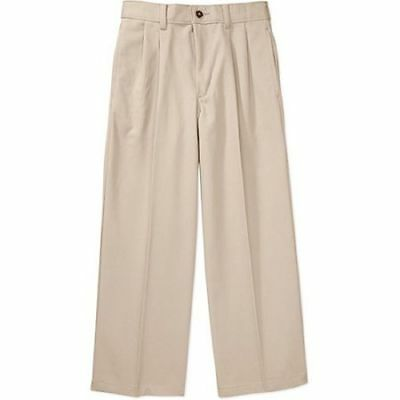 George Boys' School Uniform Pleated Twill Pants 16 Khaki New