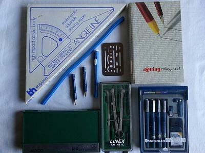 Staedtler, Rotring Drawing Pens, Angle Line, Compass's, Curve Sets Sold as a Lot
