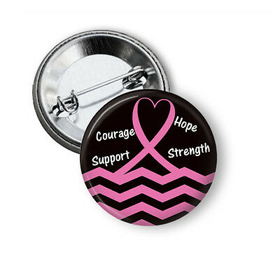 Breast Cancer Support Button PIn, Pink Ribbon Awareness Pinback