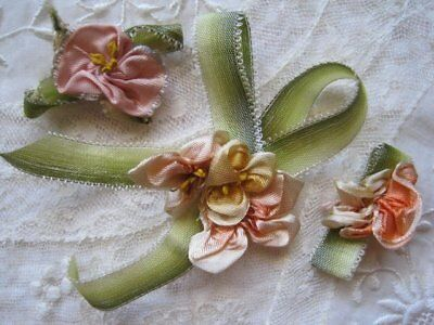 Vintage / Antique Lot Of Three Ribbon Work Flowers