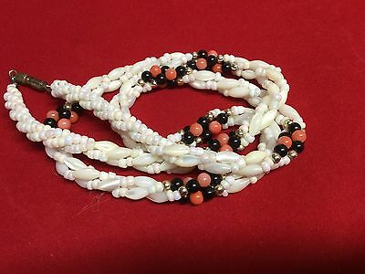 Vintage Triple Strand Round Oval Coral Pink Black Gold Pearl Beaded Necklace