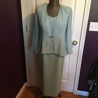 R & M Richards Aqua Mother of the Bride Groom Dress Women's Size 12P 12 Petite