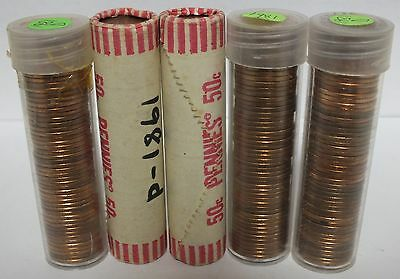 Five Coin Rolls - 1981-D Lincoln Memorial Cents - Uncirculated - Denver - JR829