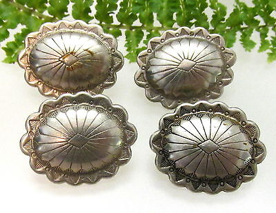 Set Of 4 Vintage Silver Concho Buttons H88