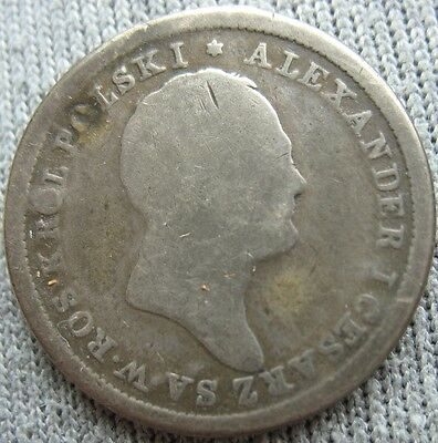1825 IB Poland Russian Silver 2 Zlote (Mount Removed)