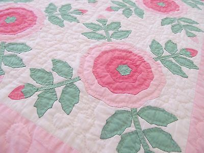 Vintage Quilt Whig Rose Pink Floral Applique Hand Quilted Unused 74 x 94