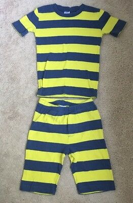 Mini Boden Blue, Yellow Striped Pajama Set Short Sleeve Top and Shorts - Size 8Y