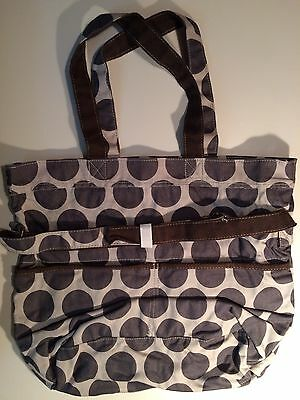 NEW Thirty One Retro Metro Fold Over Bag ~ Grey Mod Dot