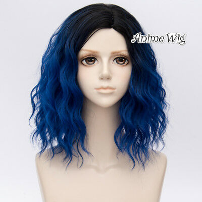Lolita Black Mixed Royal Blue 35CM Ombre Women Hair Cosplay Wig Heat Resistant