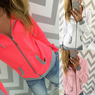 New Women Casual Zip Hoody Sweatshirt Hooded Outwear Coat Sport Hoodie