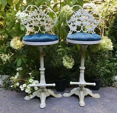 Tall Swivel Patio Chairs Cast Aluminum Metal Garden Bistro